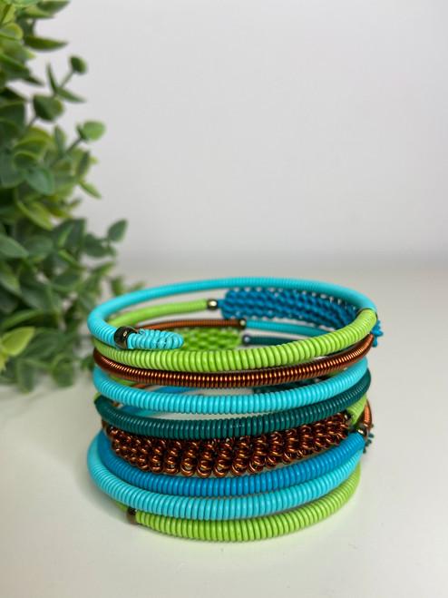Telephone Wire Blended Bracelet - African Spring