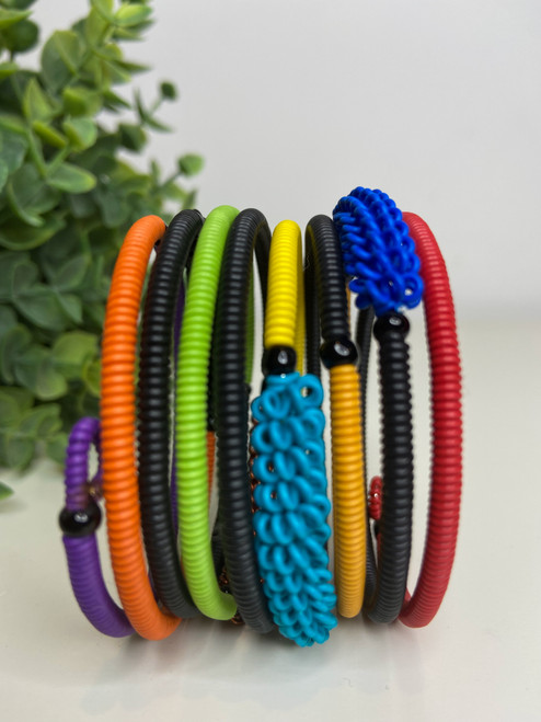 Telephone Wire blended Bracelet  - African Rainbow