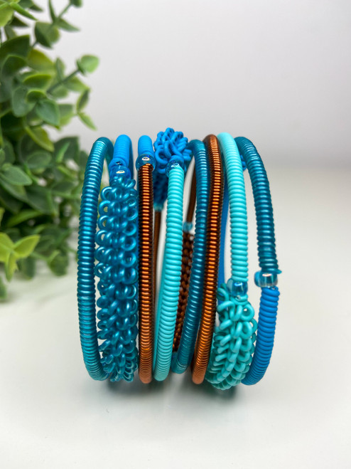 Telephone Wire blended Bracelet  - Turquoise Tones