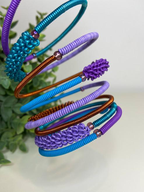 Telephone Wire blended Bracelet - Dark Peacock