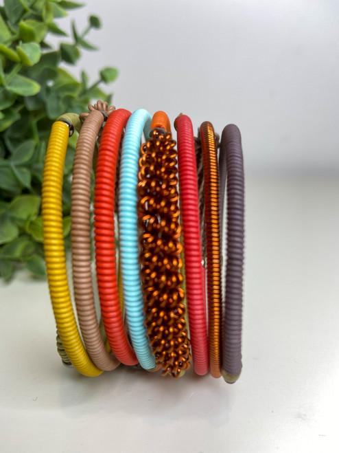 Telephone Wire blended Bracelet  - Earthy Rainbow