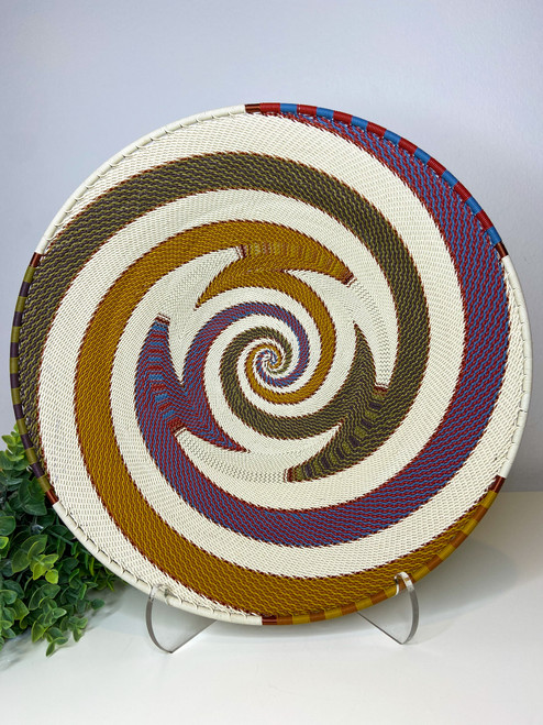 Large Open-V Plate - Telephone Wire Plate - Mountain Rainbow