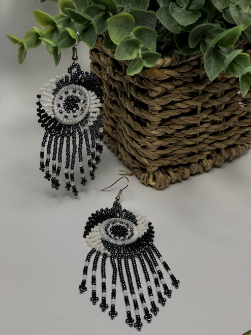 African Zulu Beaded Chandelier Earrings - 002