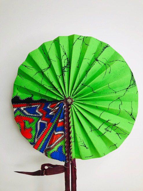 Leather & Ankara Folding Fan - 001
