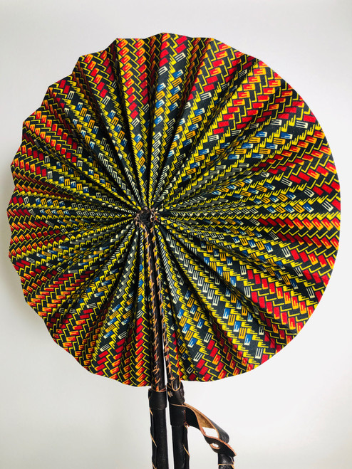 Leather & Ankara Folding Fan - 002
