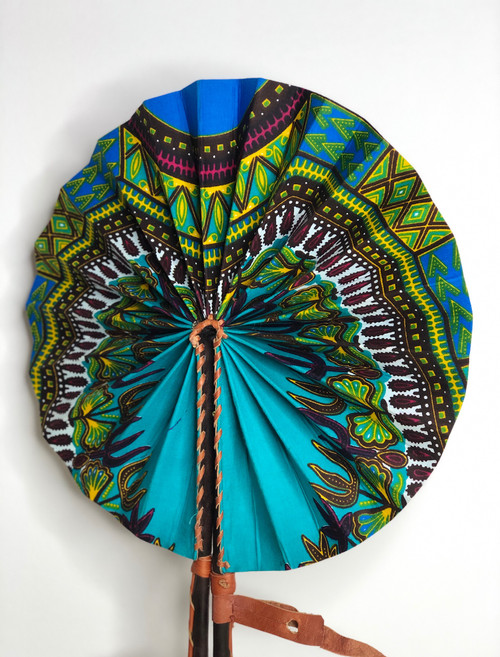 Leather & Ankara Folding Fan - 003
