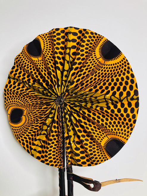 Leather & Ankara Folding Fan - 004