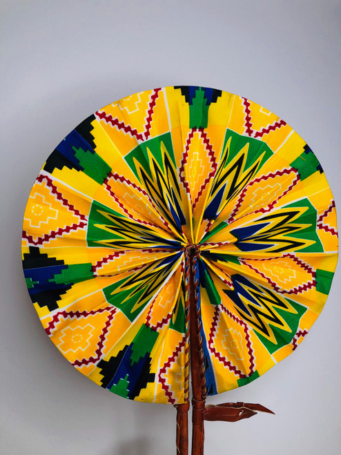 Leather & Ankara Folding Fan - 005