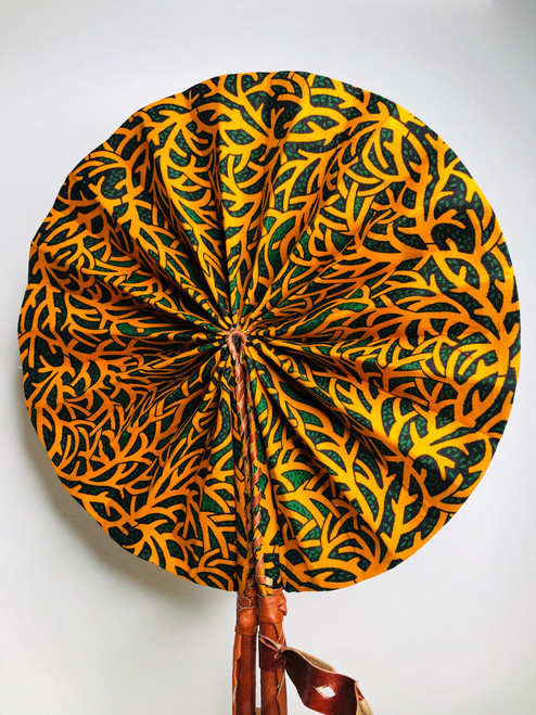 Leather & Ankara Folding Fan - 006