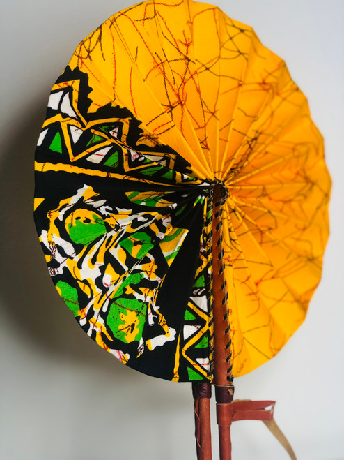 Leather & Ankara Folding Fan - 007