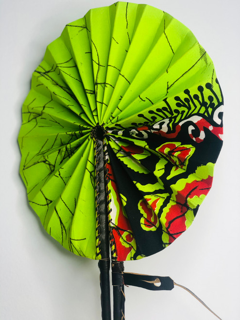 Leather & Ankara Folding Fan - 008