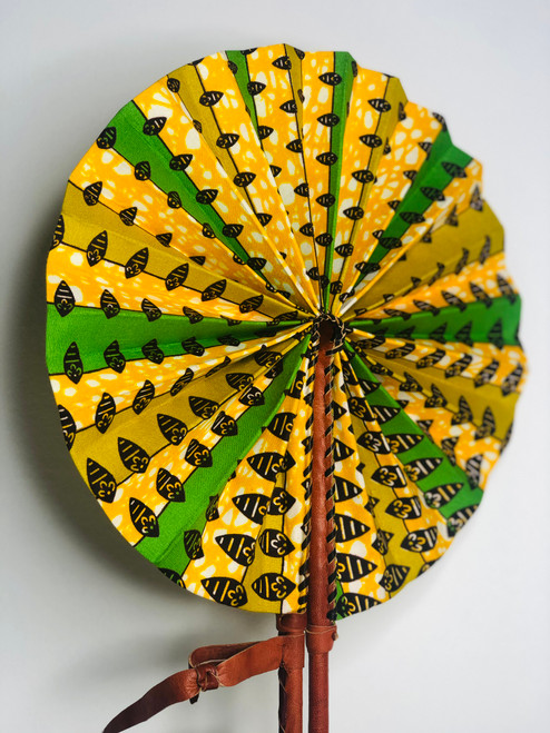 Leather & Ankara Folding Fan - 009