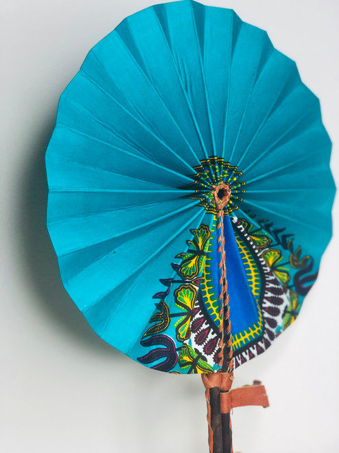 Leather & Ankara Folding Fan - 010