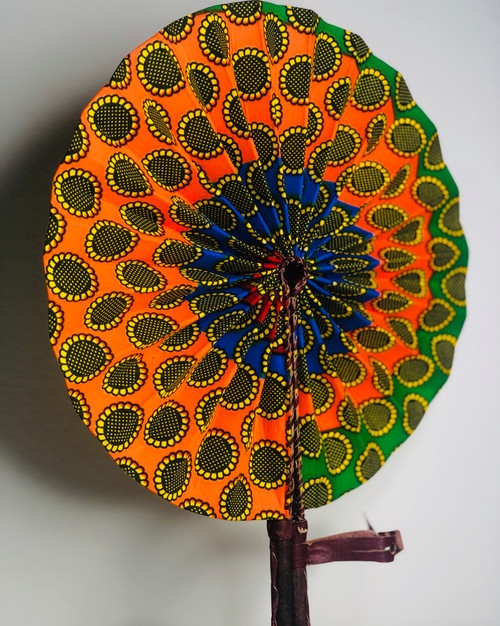 Leather & Ankara Folding Fan - 011