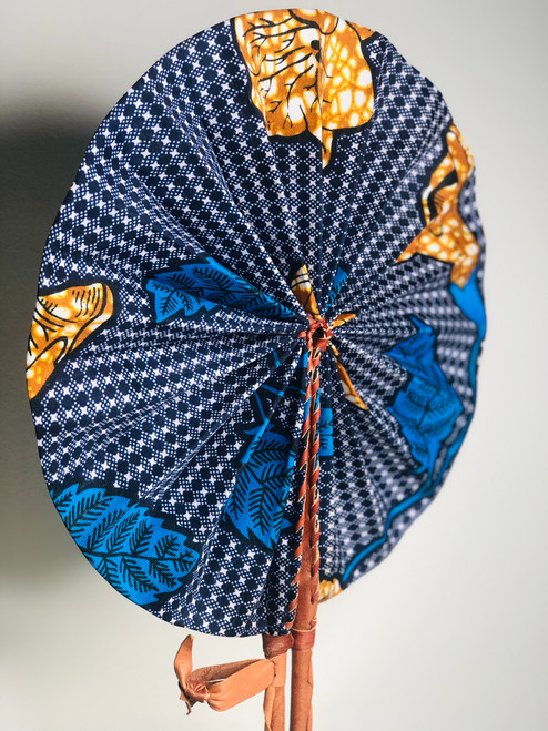 Leather & Ankara Folding Fan - 014
