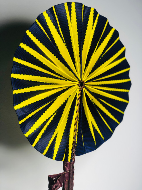 Leather & Ankara Folding Fan - 015