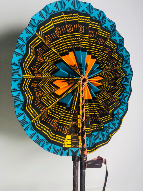 Leather & Ankara Folding Fan - 016