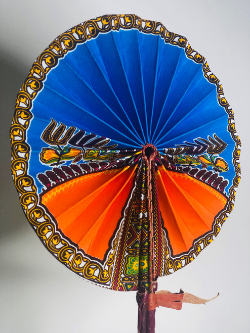 Leather & Ankara Folding Fan - 017
