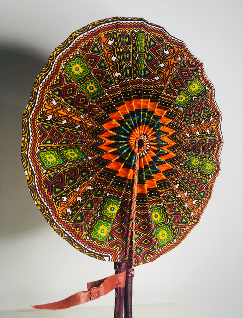 Leather & Ankara Folding Fan - 018