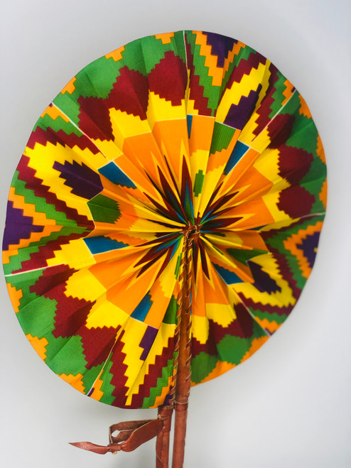 Leather & Ankara Folding Fan - 019