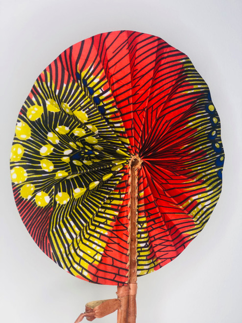 Leather & Ankara Folding Fan - 021