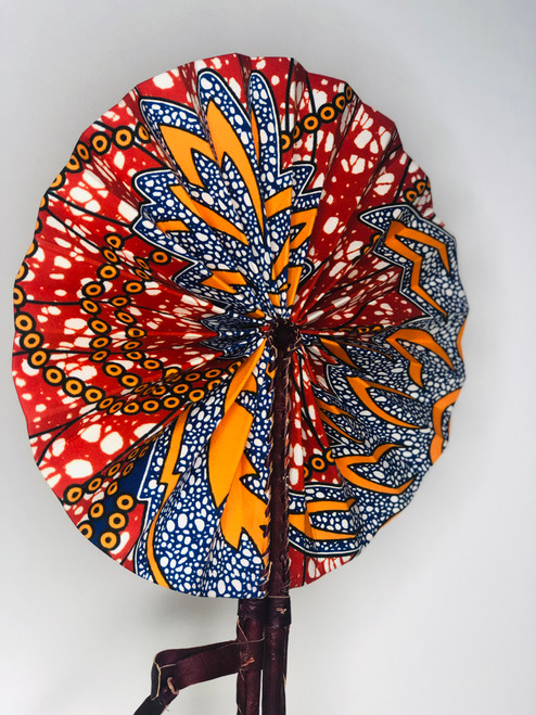 Leather & Ankara Folding Fan - 022