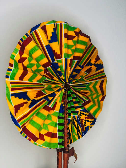 Leather & Ankara Folding Fan - 023
