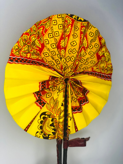 Leather & Ankara Folding Fan - 024