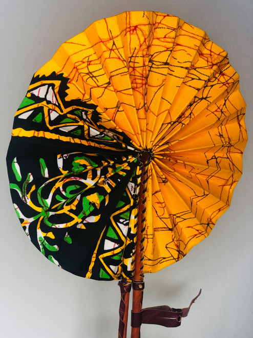 Leather & Ankara Folding Fan - 025