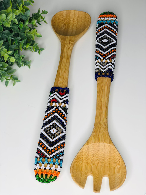 Hand-carved Bamboo Beaded Salad Servers - 003