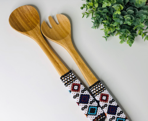 Hand-carved Bamboo Beaded Salad Servers - 004