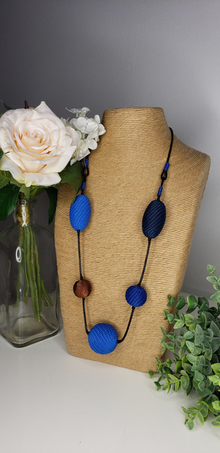 Telephone wire Necklace - Blue Tones w/ copper Necklace