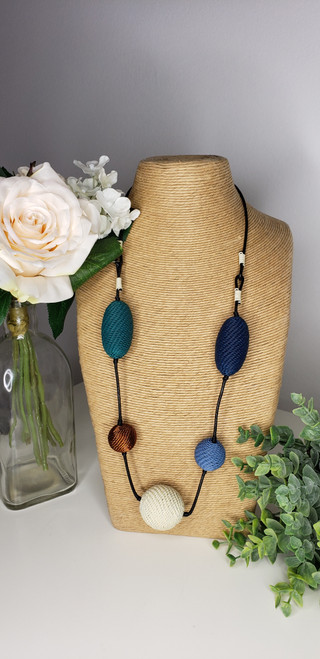 Add a fresh dash of colour and texture to your OOTD with this long necklace showcasing the signature women telephone wire designs. These handmade necklaces are very versatile; from neutral to vibrant pieces. They can be worn as colourful statement pieces or sophisticated accents adding personality to your wardrobe.  Care: Water resistant and remove during physical activities