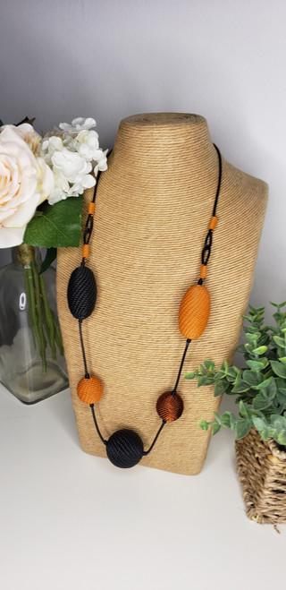 Telephone wire Necklace - Lava w/ copper