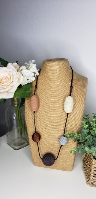 Telephone wire Necklace- Pink Bark w/ copper
