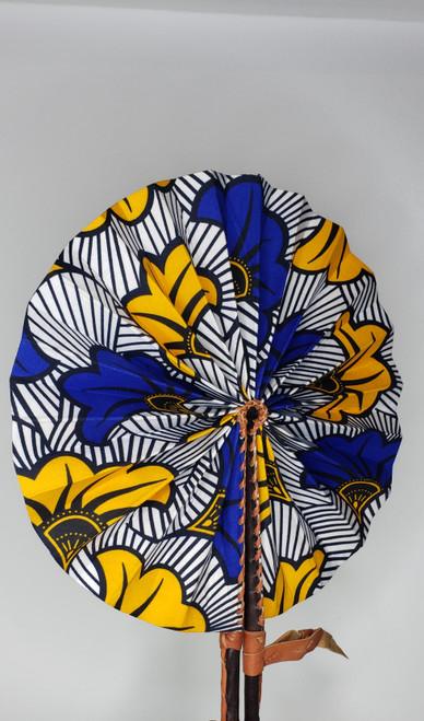 Leather & Ankara Folding Fan - 027
