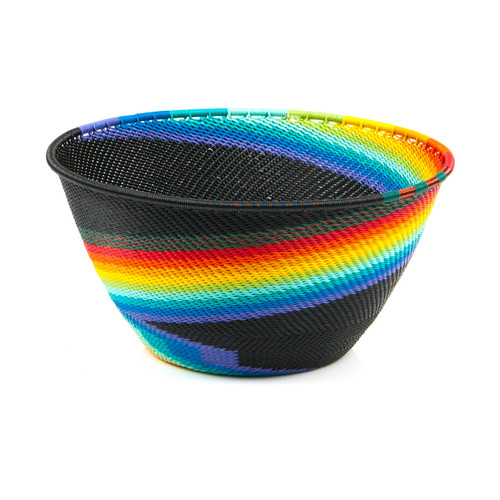 Black with rainbow bowl made out of telephone wire