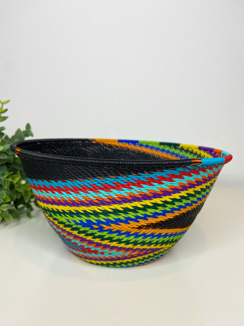 Telephone wire Large Deep  Bowl - African Rainbow