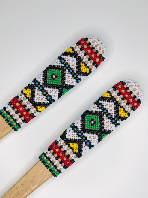 Hand-carved Bamboo Beaded Salad Servers - 005