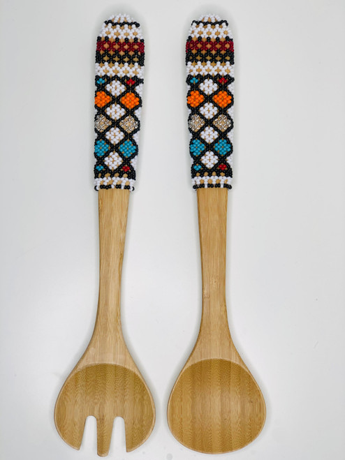 Hand-carved Bamboo Beaded Salad Servers - 006