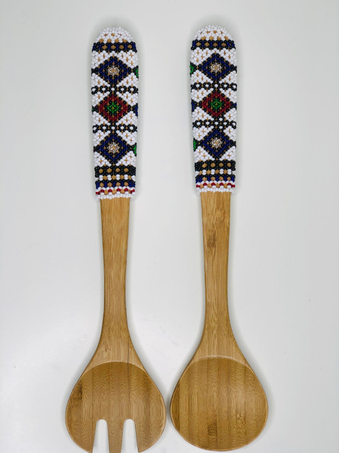Hand-carved Bamboo Beaded Salad Servers - 007