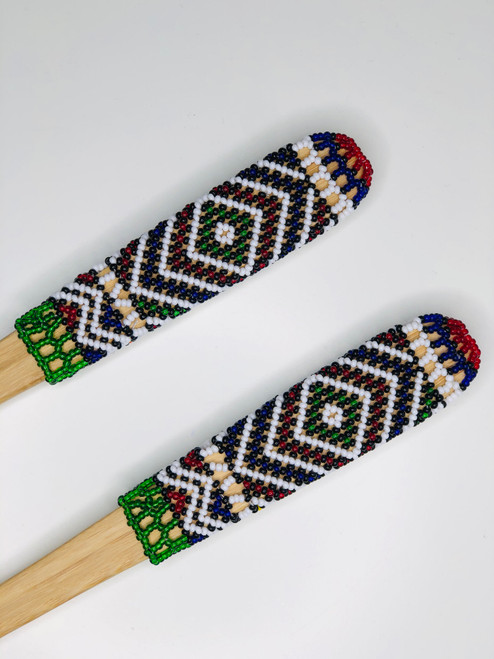 Hand-carved Bamboo Beaded Salad Servers - 009
