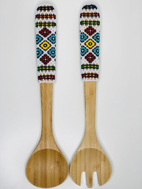 Hand-carved Bamboo Beaded Salad Servers - 010