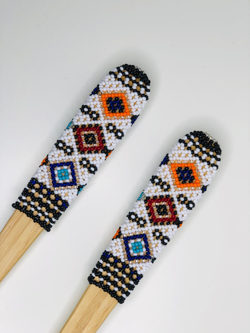 Hand-carved Bamboo Beaded Salad Servers -011