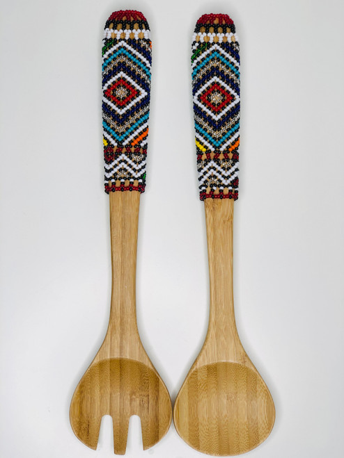 Hand-carved Bamboo Beaded Salad Servers - 012