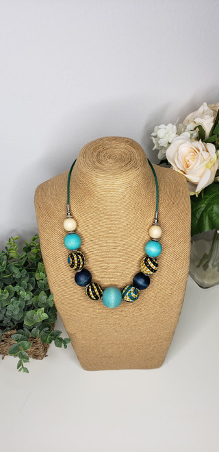 Rustic Trade Beaded Necklace w/ African Fabric Accent - 002