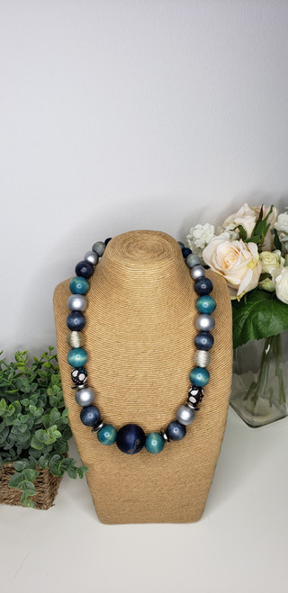 Rustic Trade Beaded Necklace w/ African Fabric Accent - 003