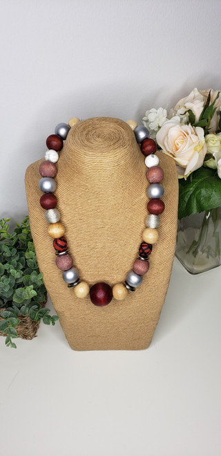 Rustic Trade Beaded Necklace w/ African Fabric accents- 004