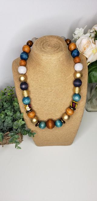 Rustic Trade Beaded Necklace w/ African Fabric Accent - 005