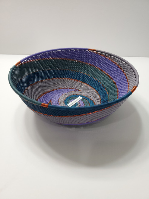 Telephone wire Large Shallow Bowl- Purple